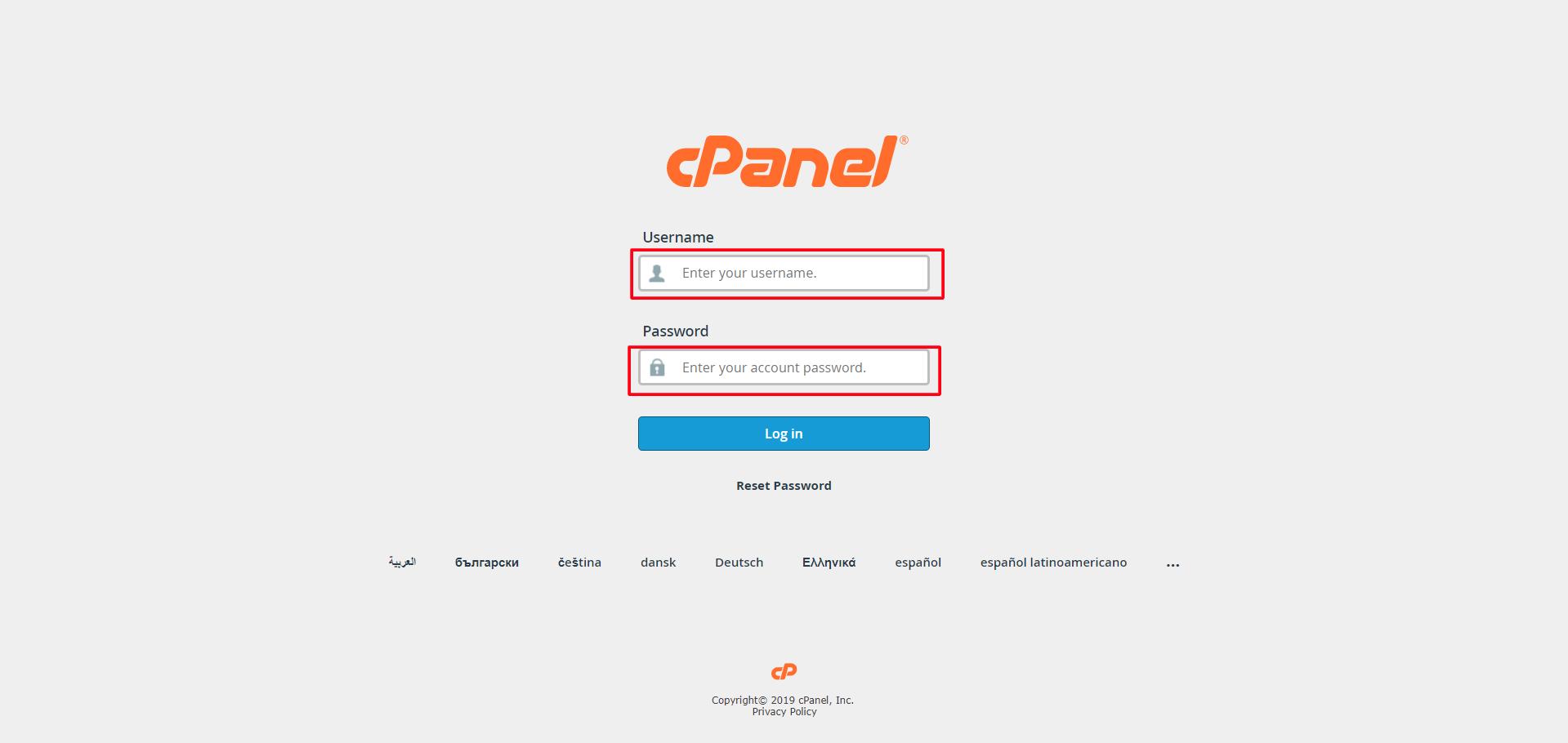 Setup Ruby App Step 1-Cpanel-Login